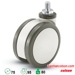 bánh xe xe đẩy y tế lắp cọc vít bánh xe đôi d75 CPT-3854-85