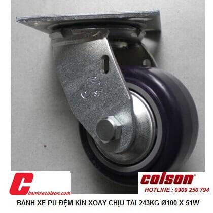 Hình ảnh Thực Tế Bánh Xe đẩy Nhựa Pu 4in (10cm ) Càng Xoay S4 4209 925p Banhxecolson.com