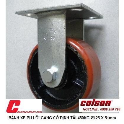 hình thực tế Bánh xe kéo hàng pu lõi gang phi 125x51 cố định S4-5208-959 banhxecolson.com