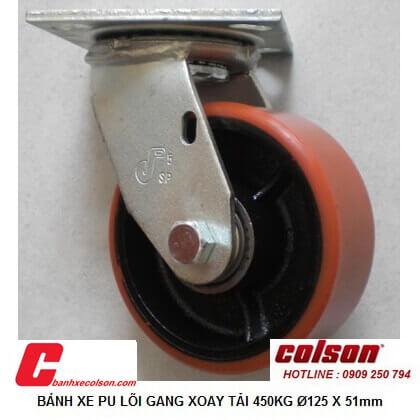hình thực tế Bánh xe xoay phi 125 pu lõi gang chịu lực 450kg S4-5209-959 banhxecolson.com