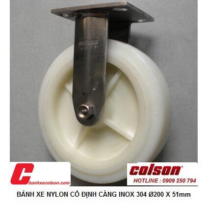 hình thực tế bánh xe đẩy 200mm càng inox 304 cố định Nylon 4-8498-824 banhxecolson.com