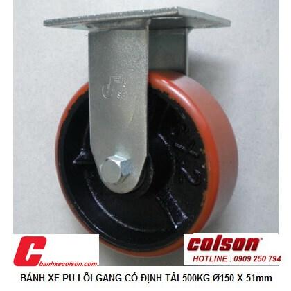 hình thực tế bánh xe đẩy công nghiệp 500kg pu lõi gang D150 S4-6208-959 banhxecolson.com