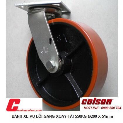 hình thực tế bánh xe đẩy chịu lực 550kg pu lõi gang D200 xoay S4-8209-959 banhxecolson.com