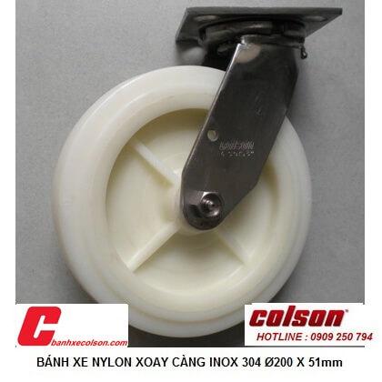 hình thực tế bánh xe đẩy nhựa càng inox 304 xoay 200x51mm 4-8499-824 banhxecolson.com