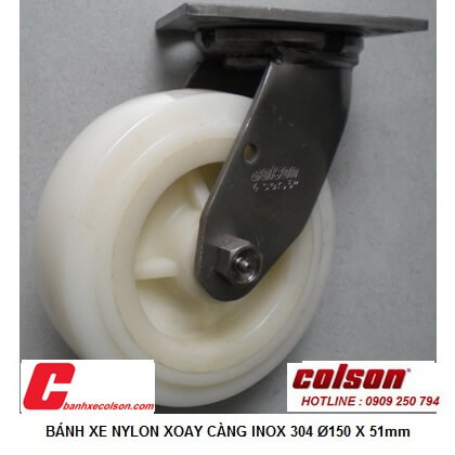 hình thực tế bánh xe 150mm càng inox 304 PA xoay chuyển hướng 64001 banhxecolson.com