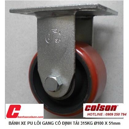hình thực tế bánh xe công nghiệp 315kg pu lõi gang 100x51 cố định S4-4208-959 banhxecolson.com