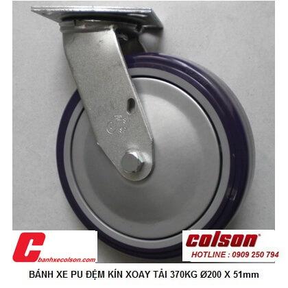 Hình Thực Tế Bánh Xe Chịu Lực 370kg Pu 200x51 Càng Xoay S4 8209 925p Banhxecolson.com