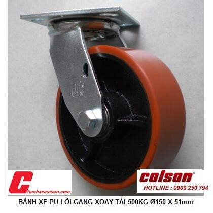 hình thực tế bánh xe chịu tải 500kg xoay pu lõi gang d150x51 S4-6209-959 banhxecolson.com