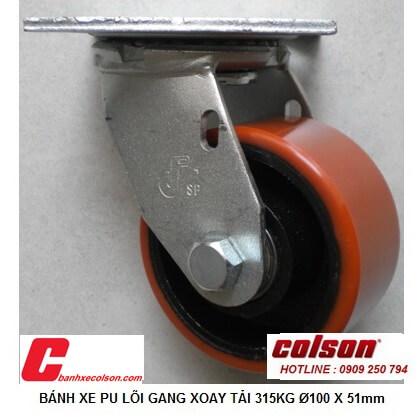 hình thực tế bánh xe dẫn hướng 100 x 51 pu lõi gang chịu tải 315kg S4-4209-959 banhxecolson.com