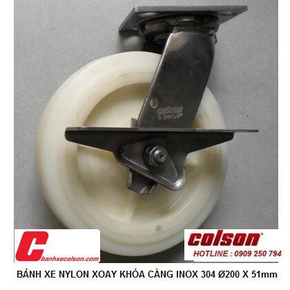 hình thực tế bánh xe di động có khóa cản càng inox d200 4-8499-824-BRK3 banhxecolson.com