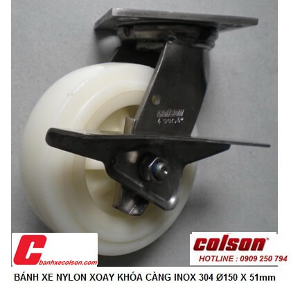 hình thực tế bánh xe lăn càng inox có khóa Nylon d150 4-6409-824-BRK3 banhxecolson.com