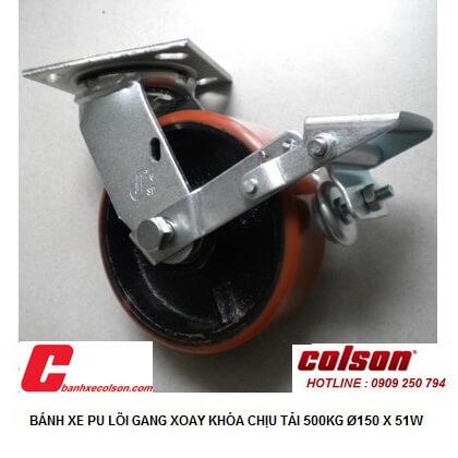 hình thực tế bánh xe pu lõi thép d150 tải 500kg có khóa S4-6209-959-BK179 banhxecolson.com