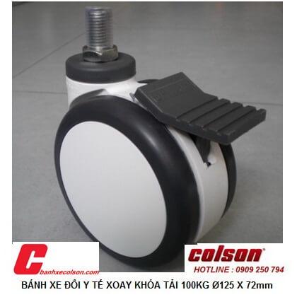 Hình thực tế bánh xe caster có khóa đôi phi 125 trục ren CPT-5854-85BRK4 banhxecolson.com