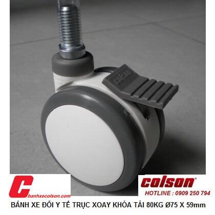 Hình thực tế bánh xe có khóa lắp ty ren M12x25 d75x59mm CPT-3854-85BRK4 banhxecolosn.com