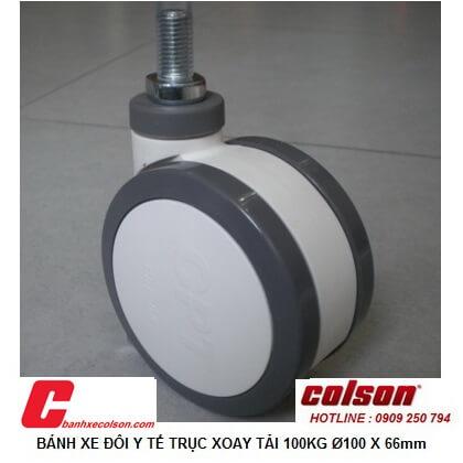 hình thực tế bánh xe đôi d100 ty ren, bánh xe chịu tải 100kg CTP-4554-85 banhxecolson.com