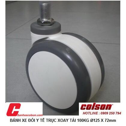 Hình thực tế bánh xe nhựa pu D125 cọc vít bánh xe đôi y tế CPT-5854-85 banhxecolson.com