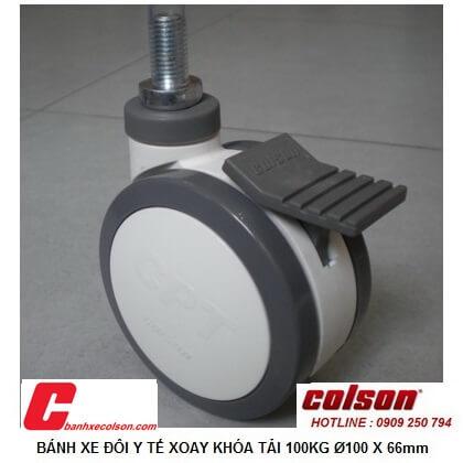 Hình thực tế bánh xe tự lựa có khóa 100mm ty ren M12x25 CTP-4854-85BRK4 banhxecolson.com