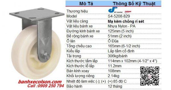 Kích Thước Bánh Xe đẩy 125x51 Nhựa Nylon Càng Cố định S4 5208 829 Banhxecolson.com
