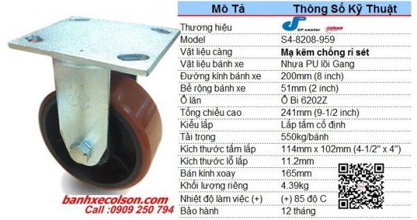kích thước bánh xe đẩy 200mm (8inch) pu lõi gang càng đứng S4-8208-959 banhxecolson.com