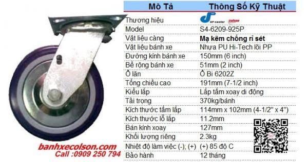 Kích Thước Bánh Xe đẩy Chịu Tải 370kg Pu 6inch Xoay S4 6209 925p Banhxecolson.com