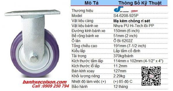Kích Thước Bánh Xe đẩy Hàng Pu 150x51mm Càng Chết S4 6208 925p Banhxecolson.com