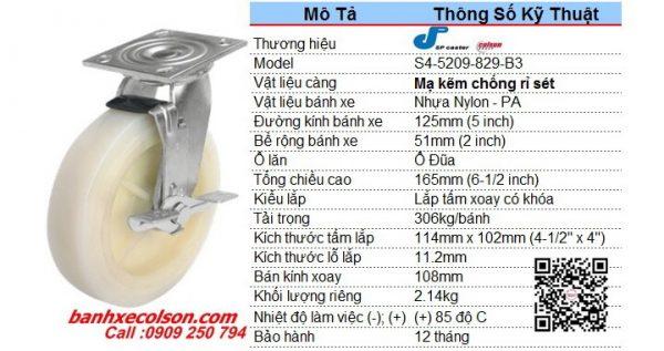 Kích Thước Bánh Xe 125 Xoay Khóa Nhựa Trắng Nylon S4 5209 829 B3 Banhxecolson.com