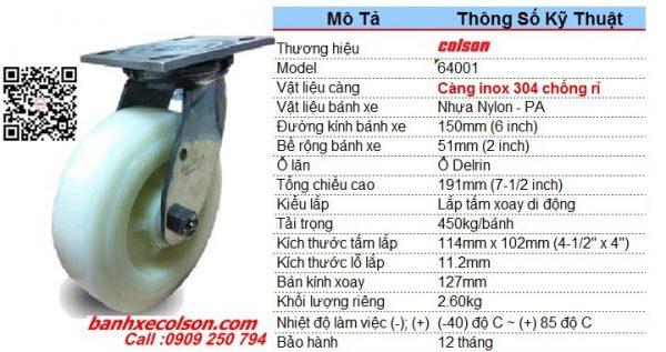 kích thước bánh xe 150mm càng inox 304 PA xoay chuyển hướng 64001 banhxecolson.com