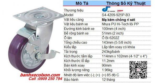 Kích Thước Bánh Xe Có Khóa Bên Nhựa Pu 100x51 S4 4209 925p B3 Banhxecolson.com