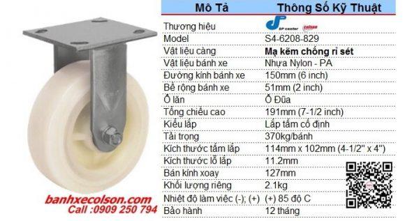 Kích Thước Bánh Xe Cố định 150mm (6in) Nhựa Nylon Trắng S4 6208 829 Banhxecolson.com