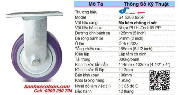 Kích Thước Bánh Xe Cố định Pu 125 X 51mm Càng Thép S4 5208 925p Banhxecolson.com