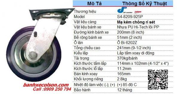 Kích Thước Bánh Xe Chịu Lực 370kg Pu 200x51 Càng Xoay S4 8209 925p Banhxecolson.com