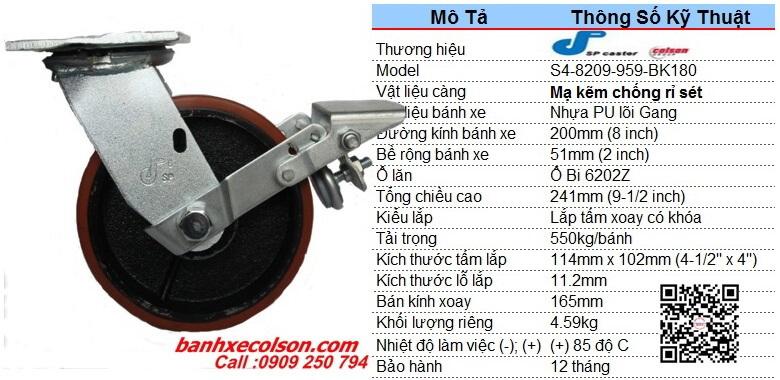 kích thước bánh xe chịu lực 550kg pu cốt gang d200 có khóa S4-8209-959-BK180 banhxecolson.com