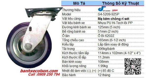 Kích Thước Bánh Xe Chịu Tải Trọng 306kg Pu 125x51 Xoay S4 5209 925p Banhxecolson.com