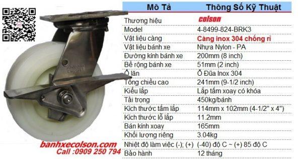 kích thước bánh xe di động có khóa cản càng inox d200 4-8499-824-BRK3 banhxecolson.com
