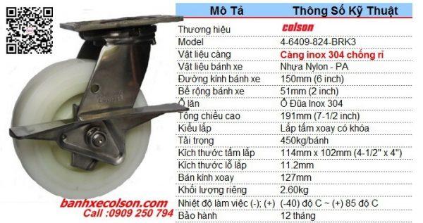 kích thước bánh xe lăn càng inox có khóa Nylon d150 4-6409-824-BRK3 banhxecolson.com