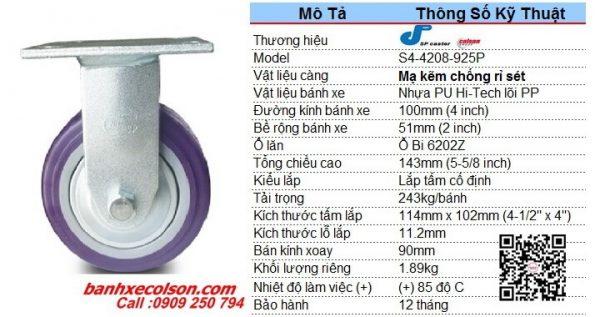 Kích Thước Bánh Xe Pu 100x51 (4in) Có Nắp Che Càng đứng S4 4208 925p Banhxecolson.com