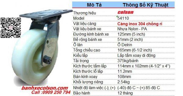 kích thước bánh xe xoay 360 càng inox 304 PA phi 125mm x 51mm 54110 banhxecolson.com