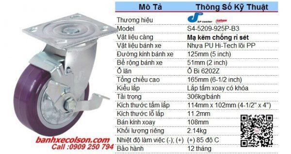 Kích Thước Bánh Xe Xoay Có Khóa Nhựa Pu 5x2 Inch S4 5209 925p B3 Banhxecolson.com