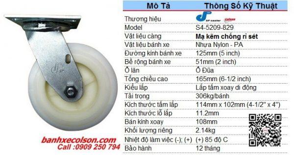 Kích Thước Bánh Xe Xoay Công Nghiệp 125x51mm Nylon S4 5209 829 Banhxecolson.com