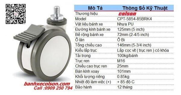 Kích thước bánh xe caster có khóa đôi phi 125 trục ren M16 CPT-5854-85BRK4 banhxecolson.com