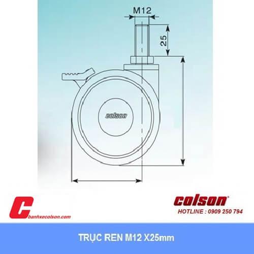 kích thước bánh xe đôi lắp trục ren M12x25mm banhxecolson.com
