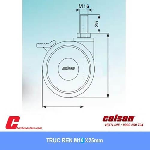 kích thước bánh xe đôi lắp trục ren M16x25mm banhxecolson.com
