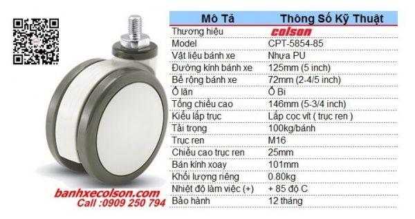 Kích thước bánh xe nhựa pu D125 cọc vít M16 bánh xe đôi y tế CPT-5854-85 banhxecolson.com
