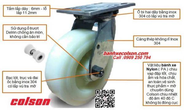 Quy Cách Bánh Xe đẩy Càng Inox 304 Nylon Tải Nặng Colson Caster Banhxecolson.com