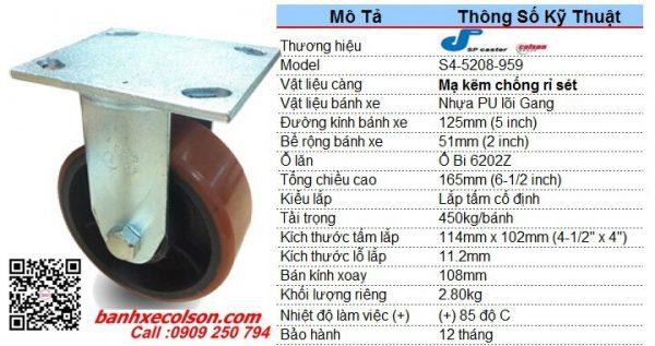 thông số Bánh xe kéo hàng pu lõi gang phi 125x51 cố định S4-5208-959 banhxecolson.com