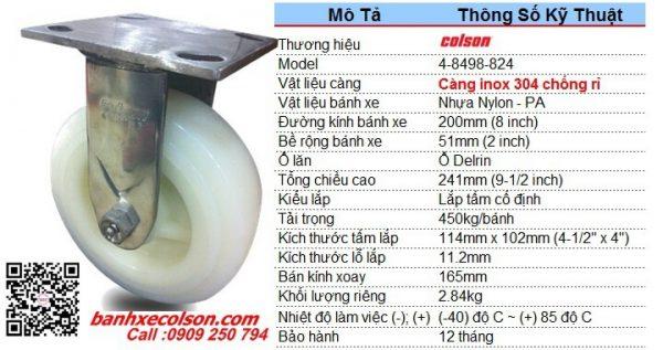 thông số bánh xe đẩy 200mm càng inox 304 cố định Nylon 4-8498-824 banhxecolson.com