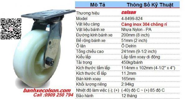 thông số bánh xe đẩy nhựa càng inox 304 xoay 200x51mm 4-8499-824 banhxecolson.com
