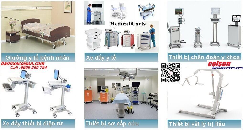 Ứng dụng bánh xe đôi dùng cho trang thiết bị y tế bệnh viện lắp trục ren banhxecolson.com