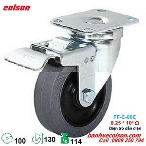 bánh xe cao su chống tĩnh điện d100 có khóa 2-4646-445C-BRK4 banhxecolson.com