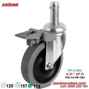 bánh xe cao su phi 125 có khóa trục trơn 22mm ESD dẫn điện banhxecolson.com